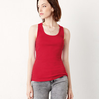 Ladies' 2x1 Rib Racerback Longer Length Cotton Tank Top