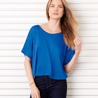 Ladies' Viscose/Poly Crewneck Boxy Tee