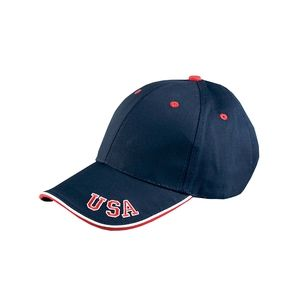 6-Panel Mid-Profile Cap with USA Embroidery Thumbnail