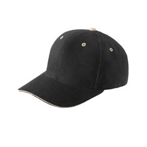 Brushed Cotton Twill 6-Panel Mid-Profile Sandwich Cap Thumbnail