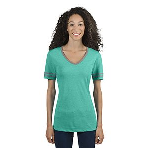 Ladies' 4.5 oz. TRI-BLEND Varsity V-Neck T-Shirt Thumbnail