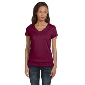 (No Minimum) Ladies Jersey V-Neck T-Shirt Thumbnail