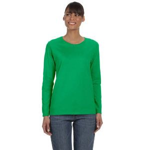 (No Minimum) Missy Fit 5.3oz 100% Cotton Long Sleeve Thumbnail